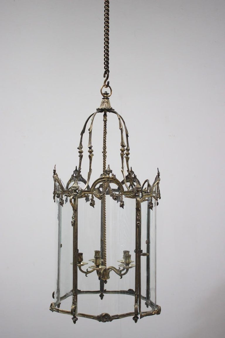 19th Century Polished Bronze Louis XV Revival Hall Lantern For Sale 4