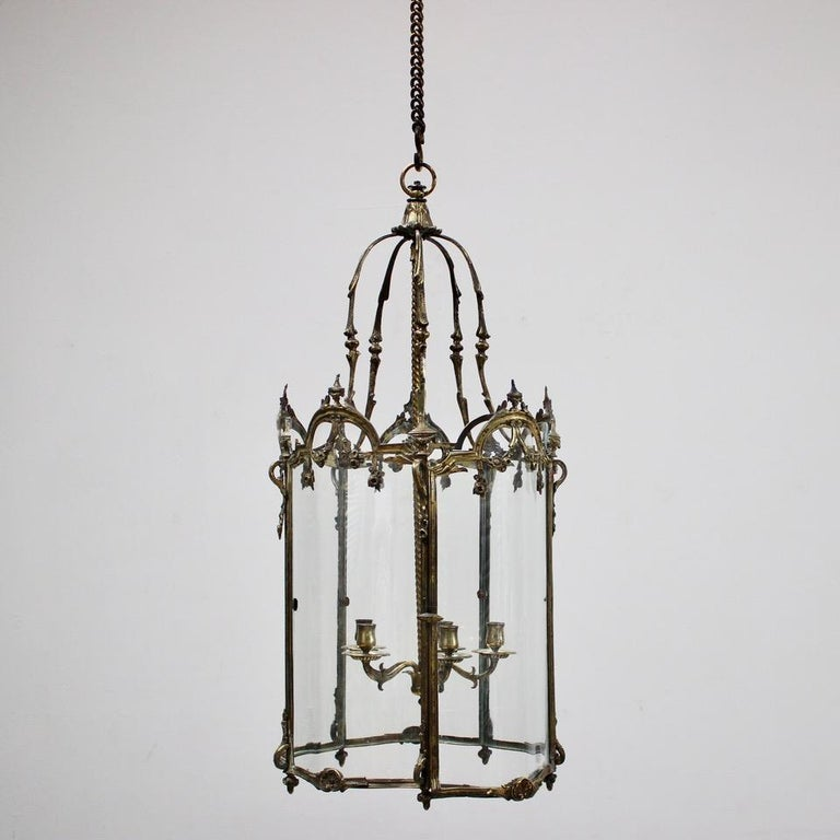 19th Century Polished Bronze Louis XV Revival Hall Lantern For Sale 5