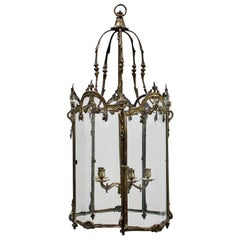 19th Century Polished Bronze Louis XV Revival Hall Lantern