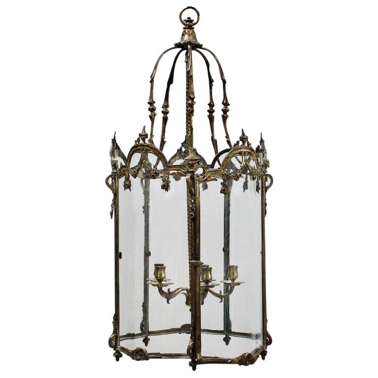 19th Century Polished Bronze Louis XV Revival Hall Lantern For Sale