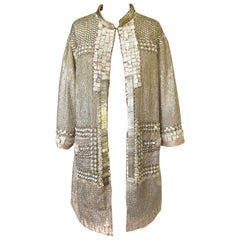 c.2004 Blumarine Elaborate Silver Metal Sequins, Disc, Shell & Bead Silk Jacket