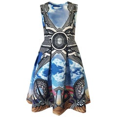 c.2010 Givenchy by Riccardo Tisci Cloud & Graphic Screen Print Dress