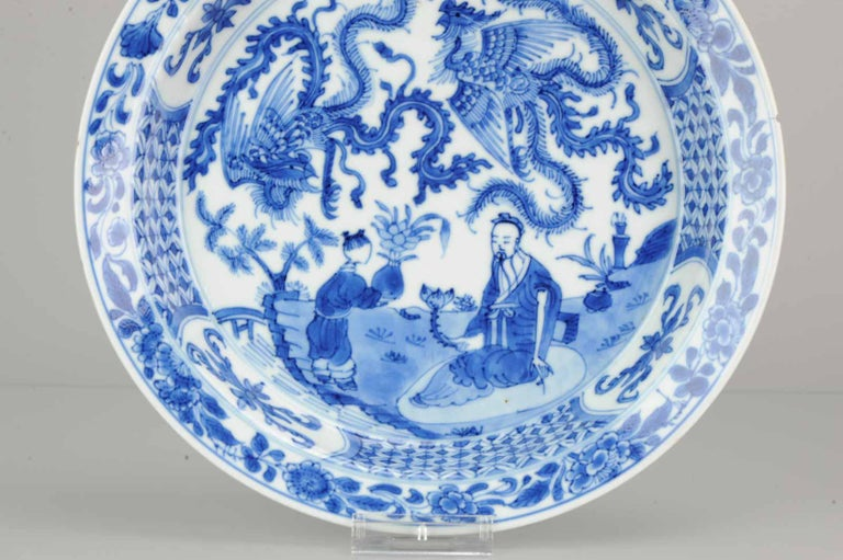 Kangxi Chinese Porcelain Plate Phoenix Figures Marked Lingzhi Fungus, circa 1700 For Sale 5