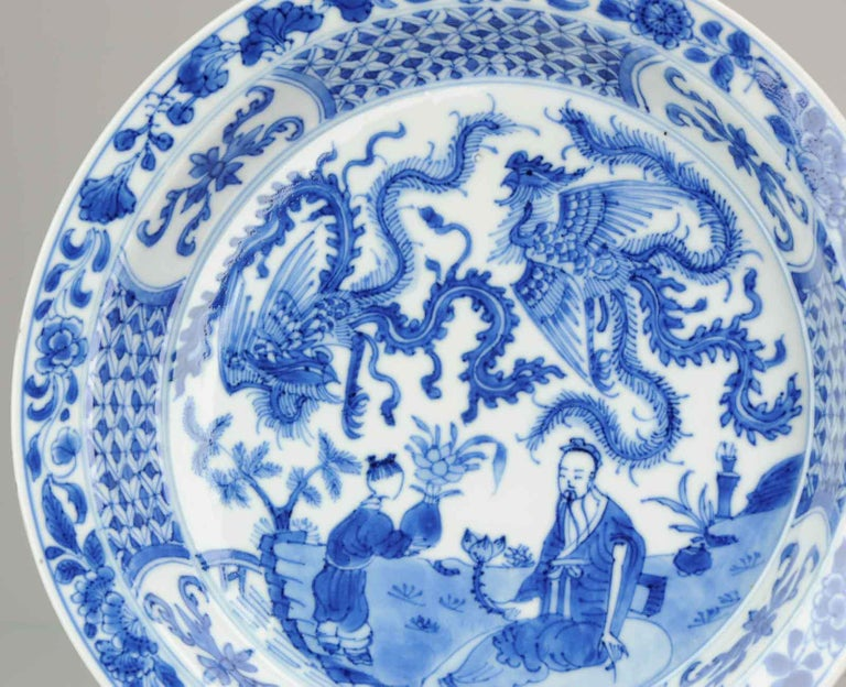 Kangxi Chinese Porcelain Plate Phoenix Figures Marked Lingzhi Fungus, circa 1700 For Sale 6