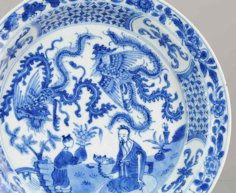 Kangxi Chinese Porcelain Plate Phoenix Figures Marked Lingzhi Fungus, circa 1700 For Sale 7