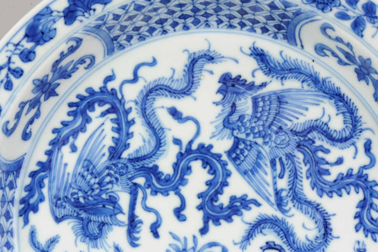 Kangxi Chinese Porcelain Plate Phoenix Figures Marked Lingzhi Fungus, circa 1700 For Sale 8