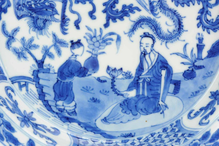 Kangxi Chinese Porcelain Plate Phoenix Figures Marked Lingzhi Fungus, circa 1700 For Sale 9