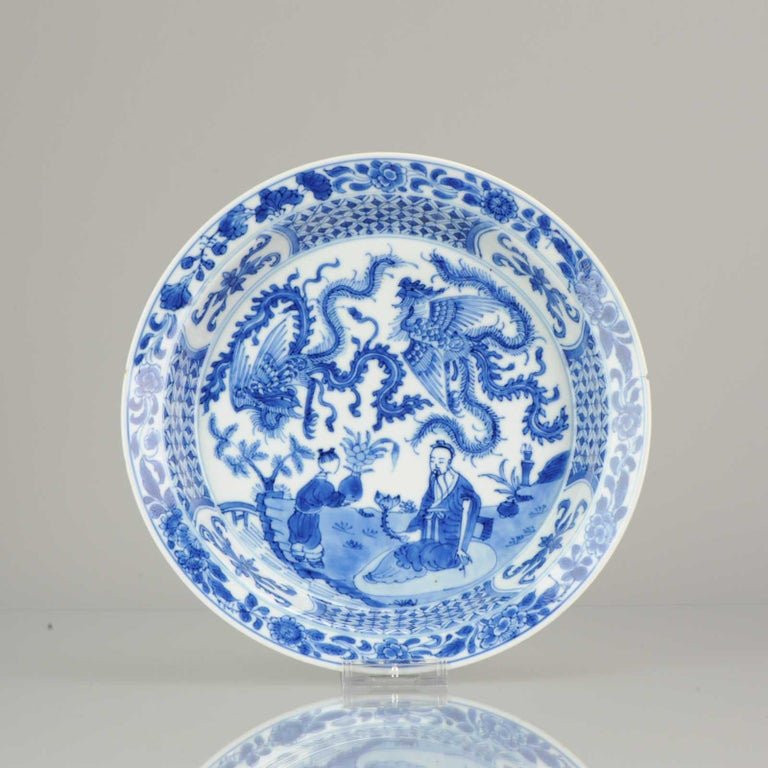 Qing Kangxi Chinese Porcelain Plate Phoenix Figures Marked Lingzhi Fungus, circa 1700 For Sale