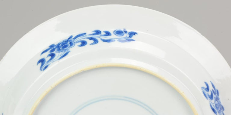 Kangxi Chinese Porcelain Plate Phoenix Figures Marked Lingzhi Fungus, circa 1700 For Sale 2