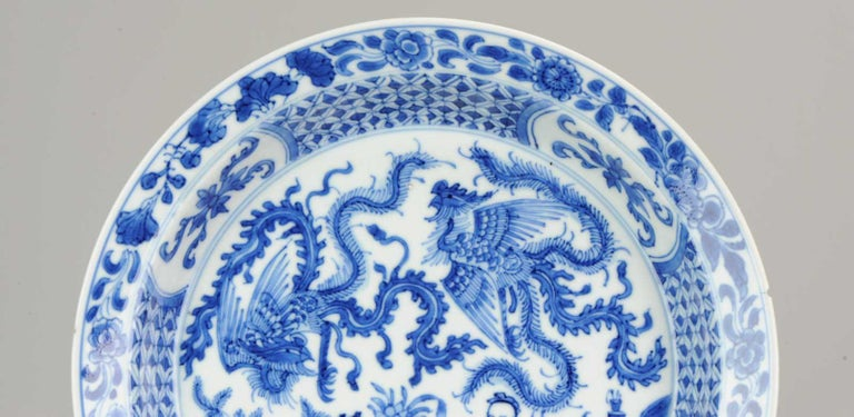 Kangxi Chinese Porcelain Plate Phoenix Figures Marked Lingzhi Fungus, circa 1700 For Sale 3