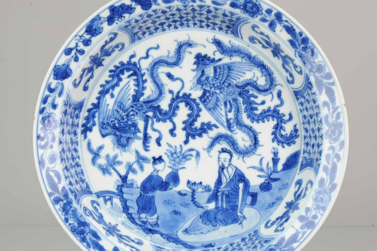 Kangxi Chinese Porcelain Plate Phoenix Figures Marked Lingzhi Fungus, circa 1700 For Sale 4