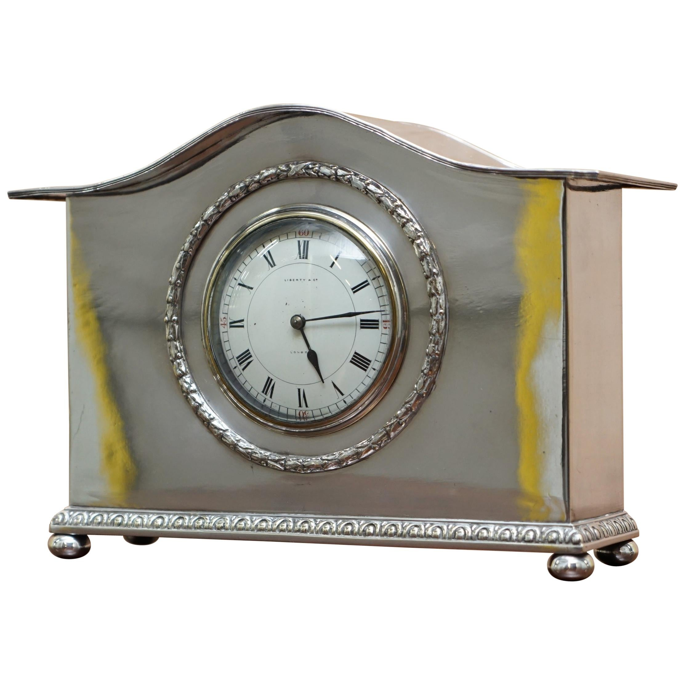 1900 Liberty & Co. London Sterling Silver Plated Archibald Knox Mantle Clock