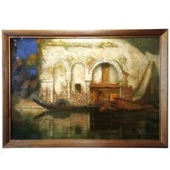 Cà da Mosto Palace in Venice, Favai 20th Century Oil on Canvas Italian Painting