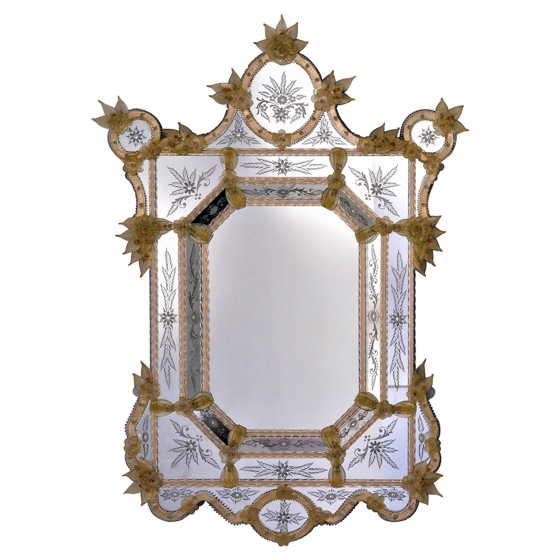 Tintoretto, Murano Glass Mirror in Venetian Style by Fratelli Tosi Made in Italy