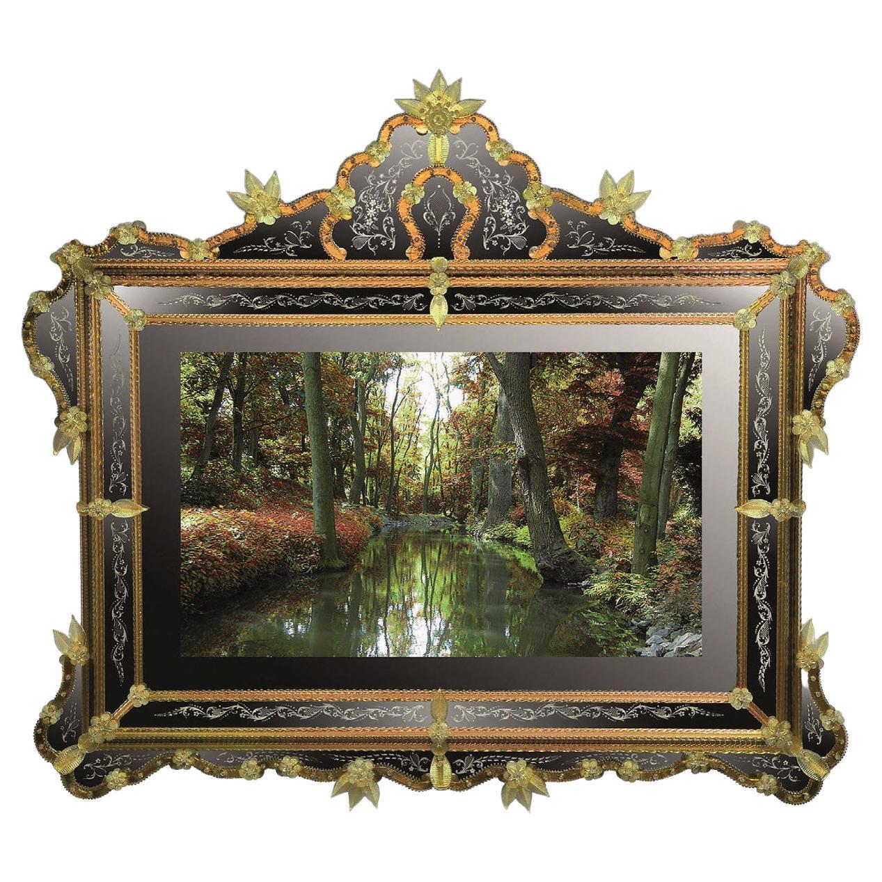 """Ca' Loredan"" Murano Glass Mirror TV, Handcrafted by Fratelli Tosi"