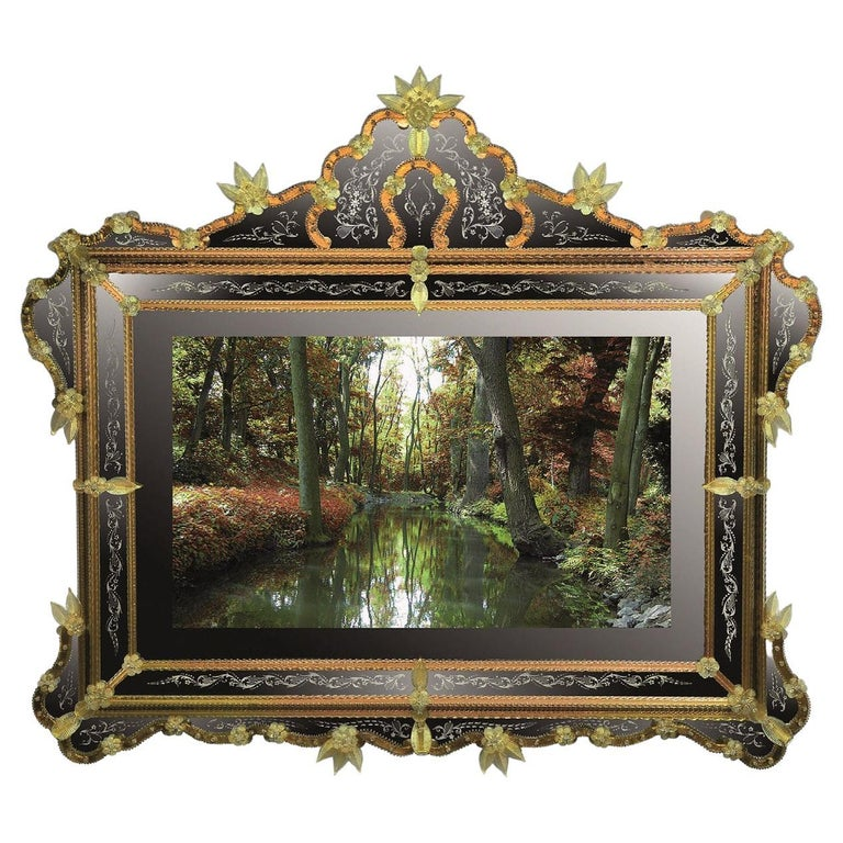 """""""Ca' Loredan"""" Murano Glass Mirror TV, Handcrafted by Fratelli Tosi For Sale"""