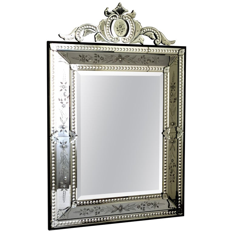 """""""Ca' Rezzonico"""" Murano Glass Mirror in French Style Handcrafted by Fratelli Tosi For Sale"""