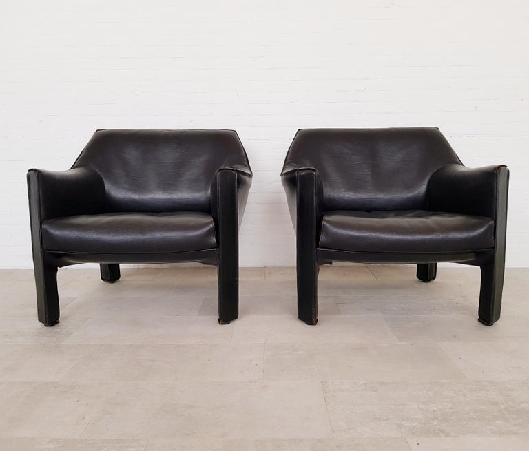 CAB 415 Black Leather Lounge Chairs by Mario Bellini for Cassina, 1980s For Sale 4