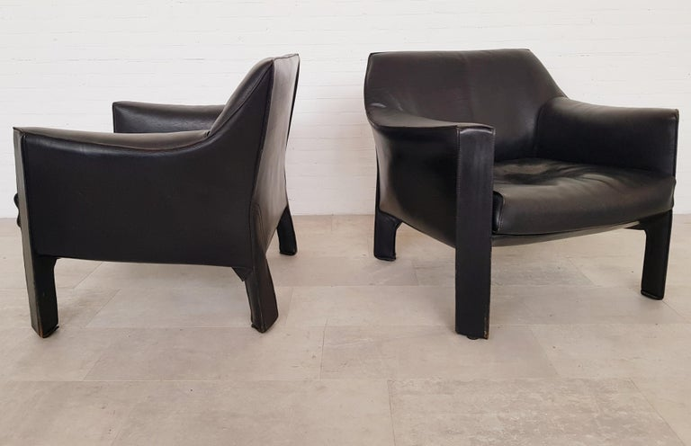 CAB 415 Black Leather Lounge Chairs by Mario Bellini for Cassina, 1980s For Sale 5
