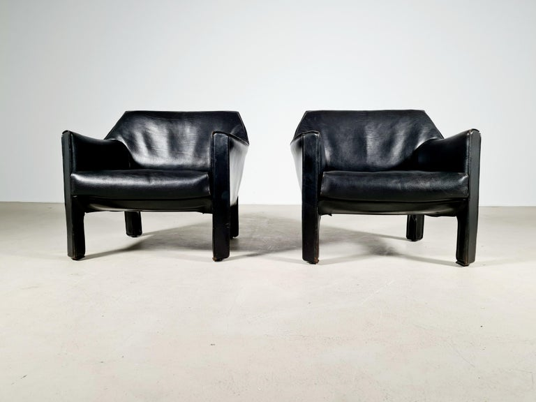 Mid-Century Modern CAB 415 Black Leather Lounge Chairs by Mario Bellini for Cassina, 1980s