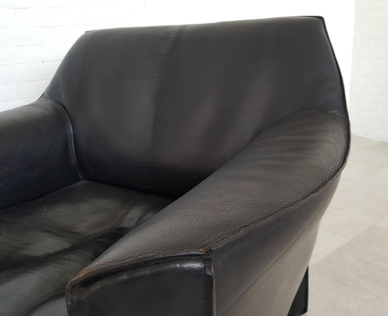 Post-Modern CAB 415 Black Leather Lounge Chairs by Mario Bellini for Cassina, 1980s For Sale