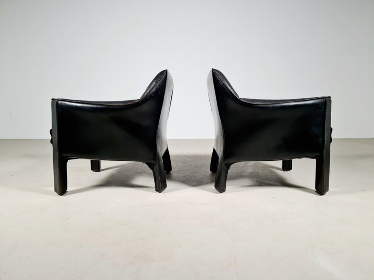 European CAB 415 Black Leather Lounge Chairs by Mario Bellini for Cassina, 1980s