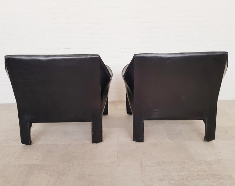 CAB 415 Black Leather Lounge Chairs by Mario Bellini for Cassina, 1980s In Good Condition For Sale In Antwerp, BE