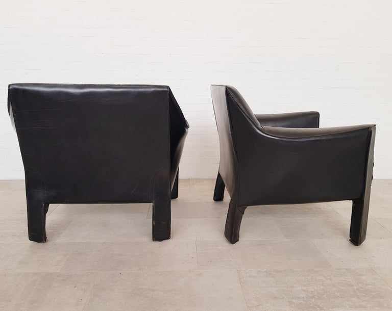 20th Century CAB 415 Black Leather Lounge Chairs by Mario Bellini for Cassina, 1980s For Sale