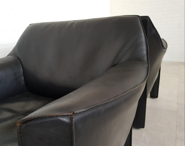 CAB 415 Black Leather Lounge Chairs by Mario Bellini for Cassina, 1980s For Sale 1