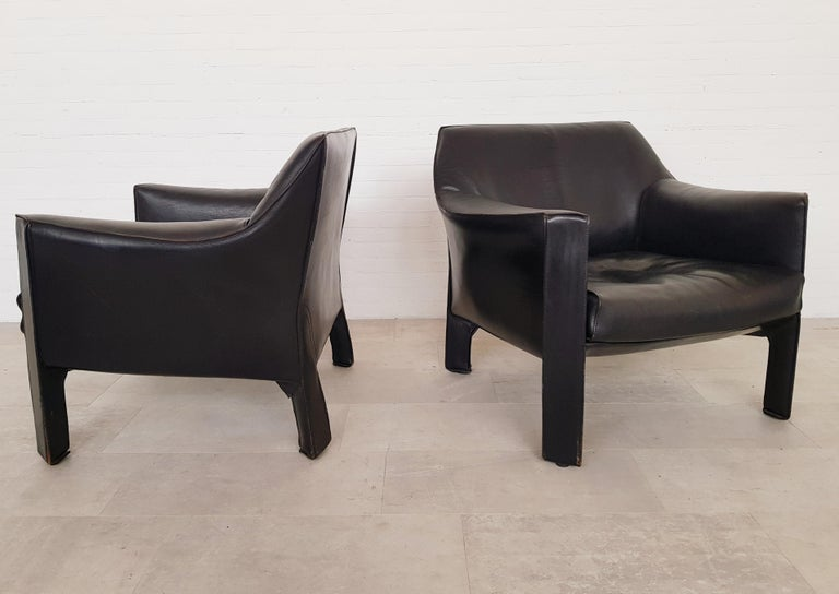 CAB 415 Black Leather Lounge Chairs by Mario Bellini for Cassina, 1980s For Sale 2