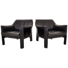 CAB 415 Black Leather Lounge Chairs by Mario Bellini for Cassina, 1980s