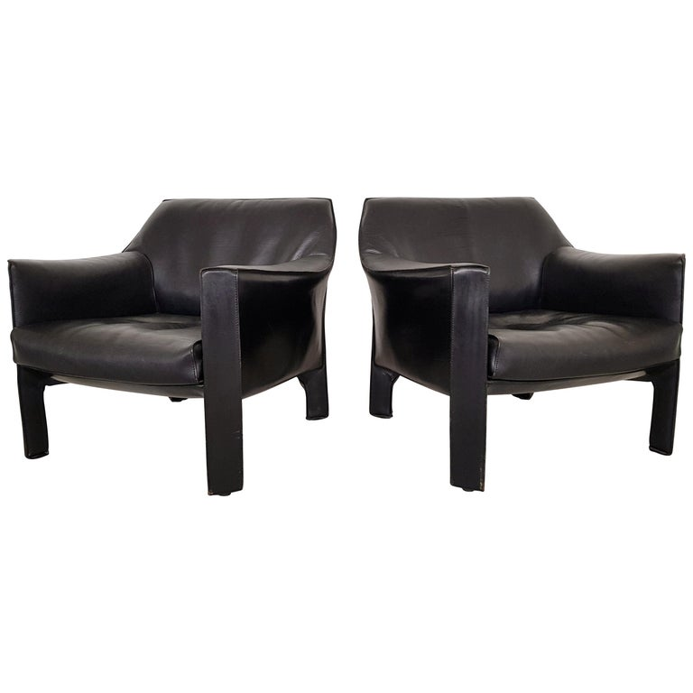 CAB 415 Black Leather Lounge Chairs by Mario Bellini for Cassina, 1980s For Sale