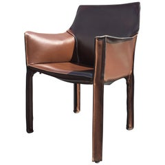 Cab Brown Leather Armchair by Mario Bellini
