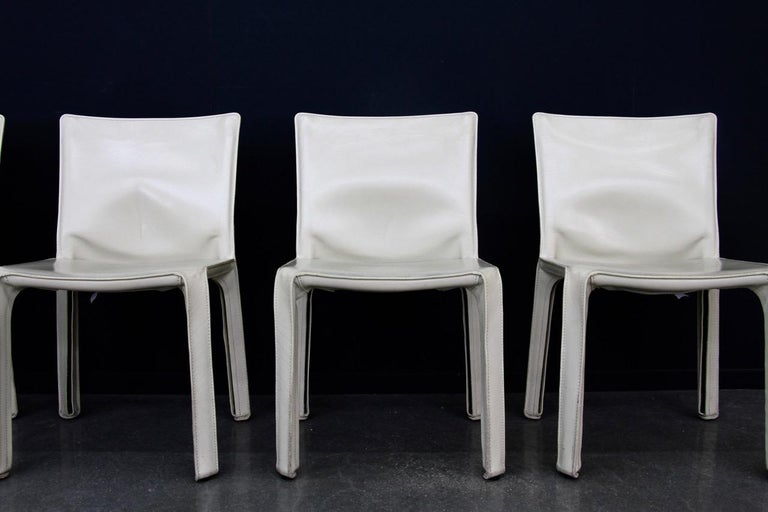Post-Modern CAB Chairs by Mario Bellini for Cassina in Ivory White Leather For Sale