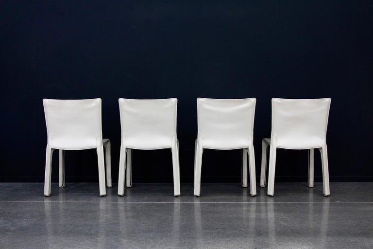 Italian CAB Chairs by Mario Bellini for Cassina in Ivory White Leather For Sale