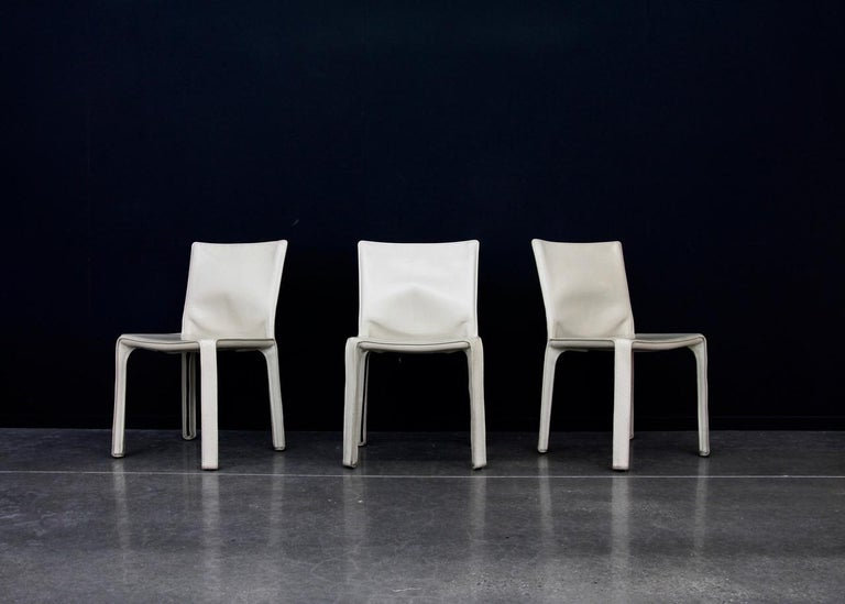20th Century CAB Chairs by Mario Bellini for Cassina in Ivory White Leather For Sale