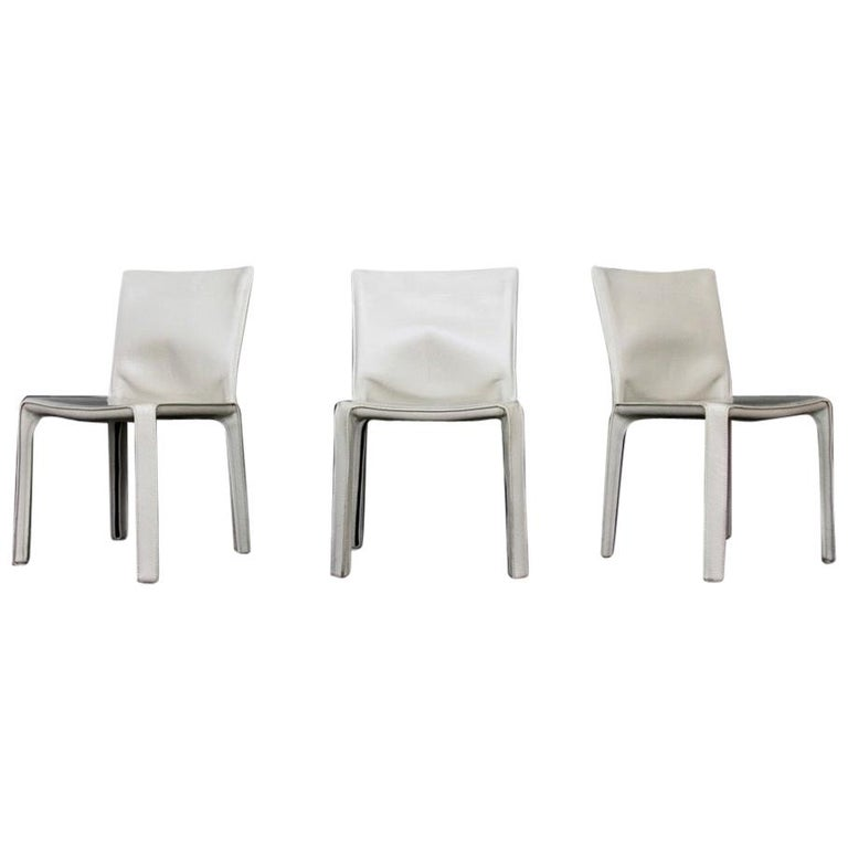CAB Chairs by Mario Bellini for Cassina in Ivory White Leather For Sale