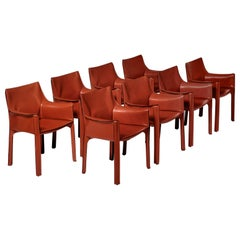 Cab Chairs by Mario Bellini for Cassina, Set of Eight