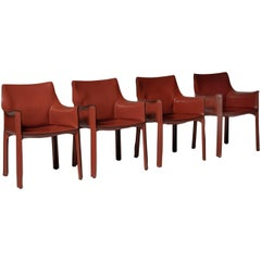 Cab Chairs by Mario Bellini for Cassina, Set of Four