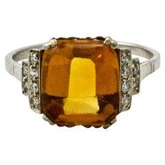 Cabachon Citrine Art Deco Diamond Platinum Ring