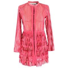 Caban Romantic Pink Sheer Fringed Dress IT 40