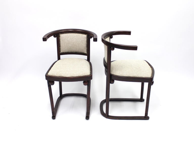 Vienna Secession Cabaret Fledermaus Chairs by Josef Hoffmann for Thonet, Set of Two For Sale