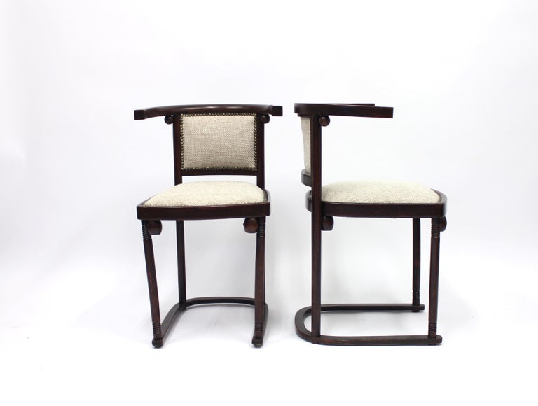 Cabaret Fledermaus Chairs by Josef Hoffmann for Thonet, Set of Two In Good Condition For Sale In Uppsala, SE