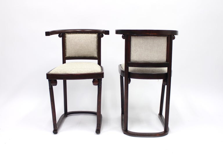 20th Century Cabaret Fledermaus Chairs by Josef Hoffmann for Thonet, Set of Two For Sale