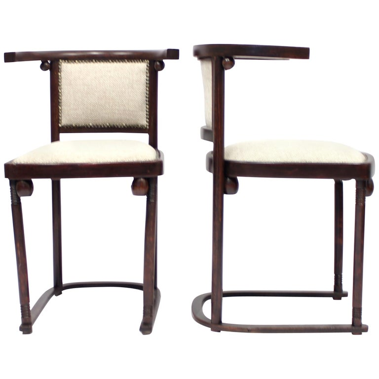 Cabaret Fledermaus Chairs by Josef Hoffmann for Thonet, Set of Two For Sale