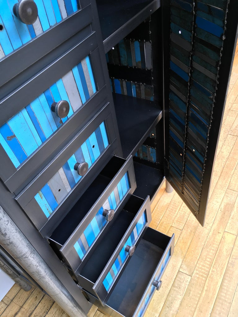 Contemporary Cabinet and Case of Drawers, Modern Functional Art Steel Furniture by Jim Rose For Sale
