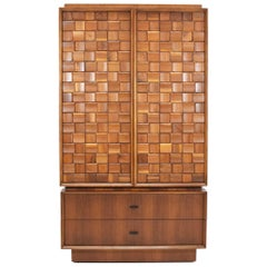 Cabinet and Chest of Drawers in Walnut with Woven Sculpted Front, Dated 1977