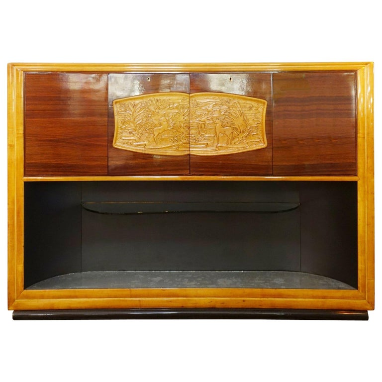 Cabinet Bar Art Deco by Vittorio Dassi, Italy, 1940s For Sale