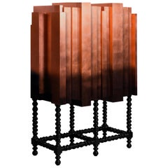 Cabinet, Bar, Solid Mahogany, Copper Leaf Veneer, Lacquer
