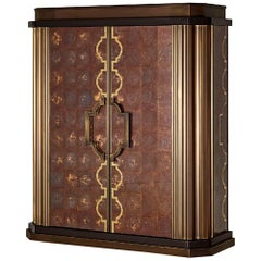Cabinet Bronze Leaf Glass Drawers Decorated Tiny Mosaic Gold Mosaic Dec on Doors